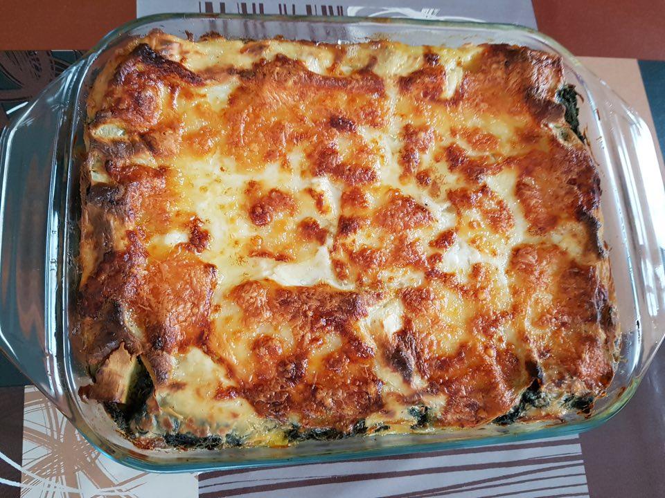 lasagnes au saumon et épinards cuit