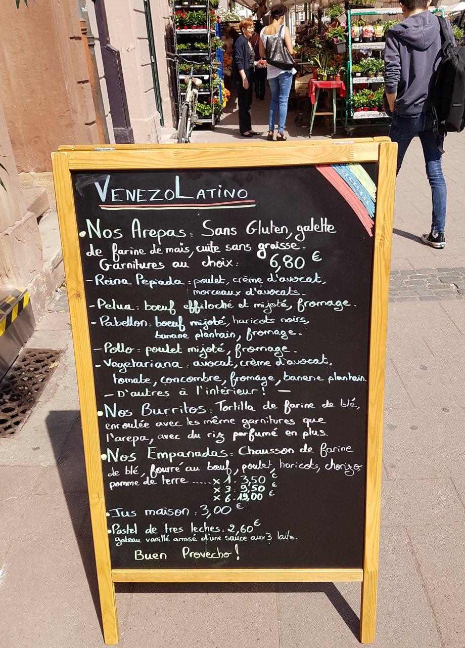 menu Venezo Latino Strasbourg miss elka