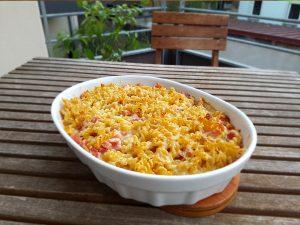 Recette de gratin de pâtes au jambon et fromage